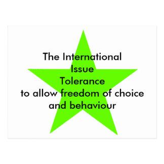 The International Issue Tolerance Star Green Lt Postcard