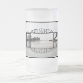 The International Peace Bridge Frosted Glass Beer Mug