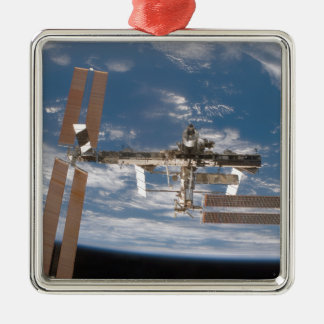 The International Space Station 17 Square Metal Christmas Ornament