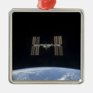 The International Space Station 7 Square Metal Christmas Ornament