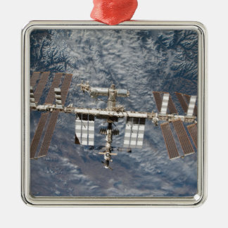 The International Space Station 8 Square Metal Christmas Ornament