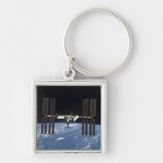 The International Space Station 9 Silver-Colored Square Keychain
