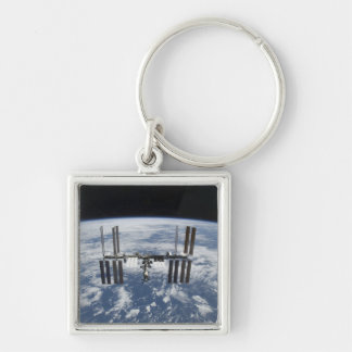 The International Space Station in orbit Silver-Colored Square Keychain