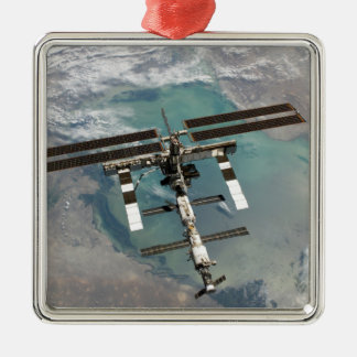 The International Space Station Square Metal Christmas Ornament
