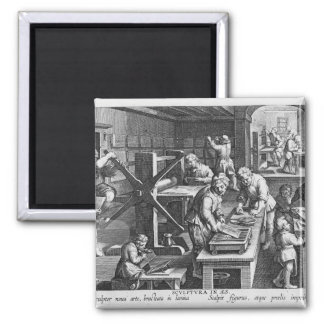 The Invention of Copper Engraving Refrigerator Magnet