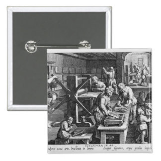 The Invention of Copper Engraving Pinback Button