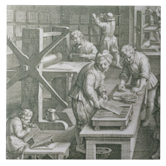 The Invention of Copper Engraving, plate 20 from ' Ceramic Tile