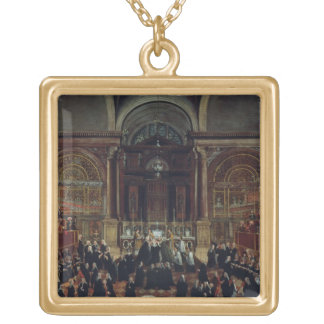 The Investiture of a Monarch in San Lorenzo (oil o Square Pendant Necklace