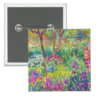 The Iris Garden at Giverny Claude Monet cool, old, Pinback Button