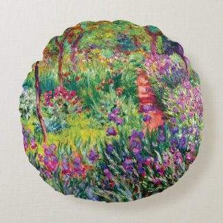 The Iris Garden by Claude Monet Round Pillow