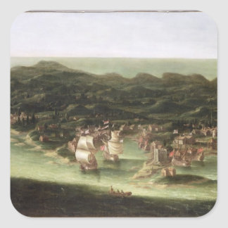 The Island of Barbados, c.1694 (oil on canvas) Square Sticker