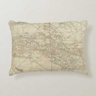 The Island of Cuba with part of the Bahama Banks Accent Pillow