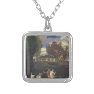 The Island of Life by Arnold Böcklin Square Pendant Necklace