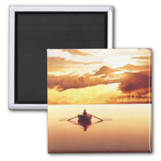 """""""The Islander"""" Row Boat at Sunset Watercolor 2 Inch Square Magnet"""