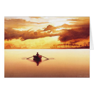"""The Islander"" Row Boat at Sunset Watercolor Greeting Card"