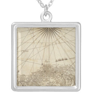 The Isthmus of Panama Square Pendant Necklace