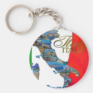 "The Italian ""Boot"" Basic Round Button Keychain"