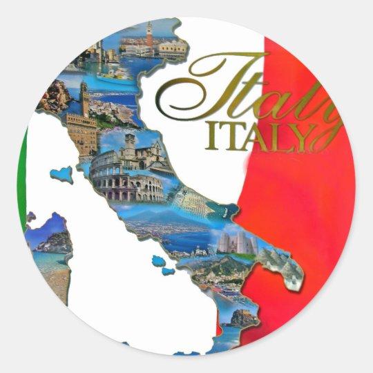 "The Italian ""Boot"" Classic Round Sticker"