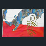 """The Italian &quot;Boot&quot; Hand Towel<br><div class=""""desc"""">Italy filled with small postcard images and Italian flag background.</div>"""