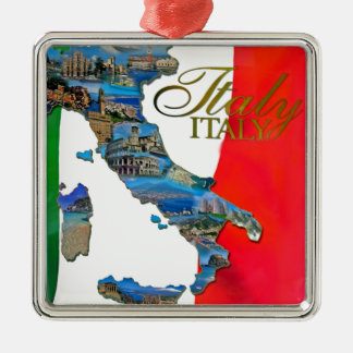 "The Italian ""Boot"" Square Metal Christmas Ornament"