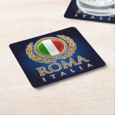The Italian Flag Square Paper Coaster