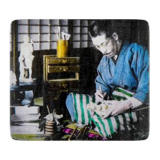 The Ivory Carver Craftsman in Old Japan Vintage Cutting Board