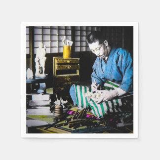 The Ivory Carver Craftsman in Old Japan Vintage Paper Napkin