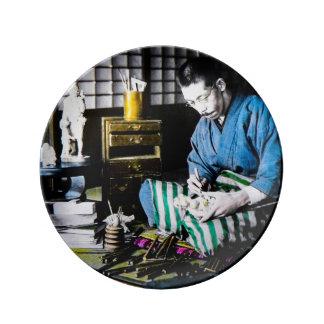 The Ivory Carver Craftsman in Old Japan Vintage Porcelain Plate