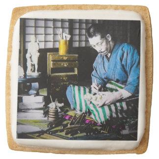 The Ivory Carver Craftsman in Old Japan Vintage Square Shortbread Cookie