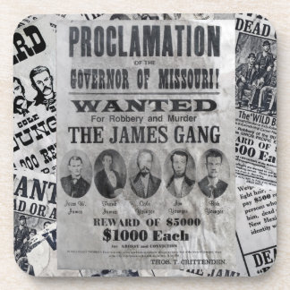 The James Gang Wanted Poster Drink Coaster