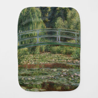 The Japanese Footbridge and the Water Lily Pool Baby Burp Cloth