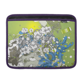The Japanese retro flower and fan and plant green MacBook Air Sleeve