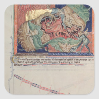 The jaws of Hell swallowing the red dragon Square Sticker