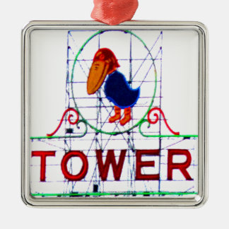 The Jayhawk Tower Square Metal Christmas Ornament