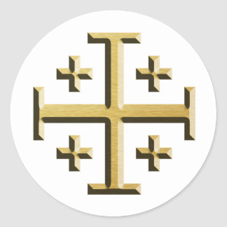 The Jerusalem Cross - Gold Beveled Edition Classic Round Sticker