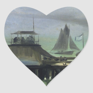 The Jetty at Boulogne by Edouard Manet Heart Sticker