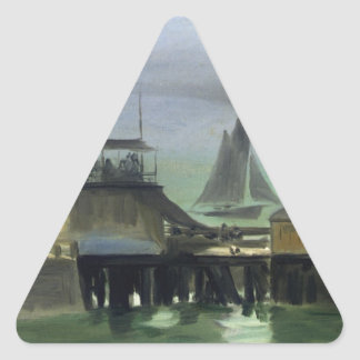 The Jetty at Boulogne by Edouard Manet Triangle Sticker