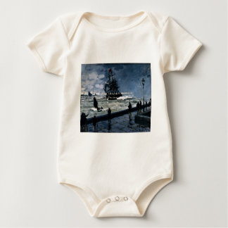 The Jetty at Le Havre, Bad Weather by Claude Monet Baby Bodysuit