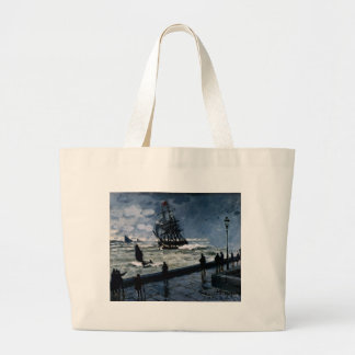 The Jetty at Le Havre, Bad Weather by Claude Monet Large Tote Bag