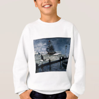 The Jetty at Le Havre, Bad Weather by Claude Monet Sweatshirt