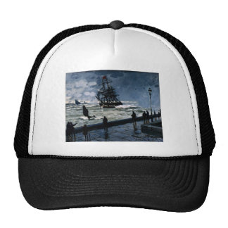 The Jetty at Le Havre, Bad Weather by Claude Monet Trucker Hat
