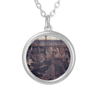 The Jetty at the Port of Granville by Theodore ... Round Pendant Necklace
