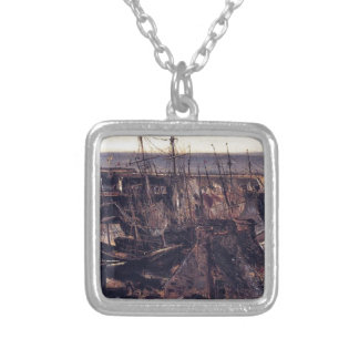 The Jetty at the Port of Granville by Theodore ... Square Pendant Necklace