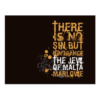 The Jew Of Malta Ignorance Quote Postcard