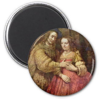 The Jewish Bride (The Couple) By Rembrandt Van Rij 2 Inch Round Magnet