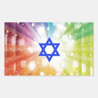 The Jewish burst of lights. Rectangular Sticker