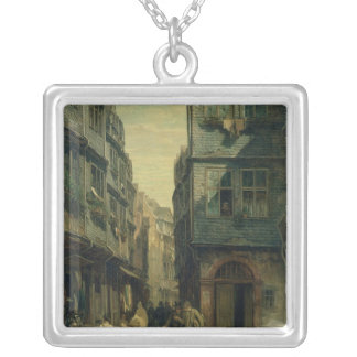 The Jewish Quarter in Frankfurt, 1883 Square Pendant Necklace