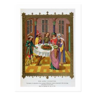 The Jews' Passover, facsimile of a 15th century mi Postcard