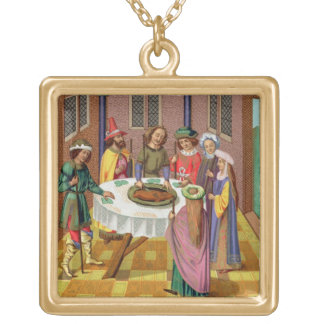 The Jews' Passover, facsimile of a 15th century mi Square Pendant Necklace