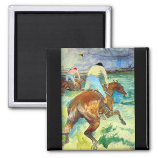 The Jockey by Henri De Toulouse 2 Inch Square Magnet